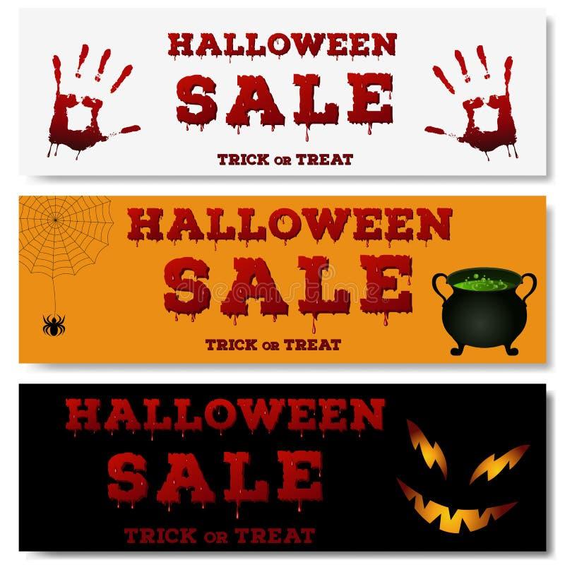 Sistema de las banderas horizontales de Halloween Diseño del aviador con la inscripción de la venta de Halloween y la tipografía  stock de ilustración