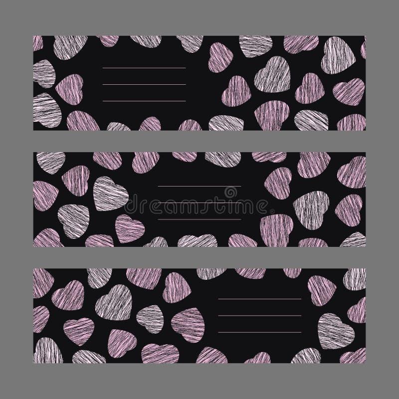 Sistema de las banderas horizontales del día de tarjeta del día de San Valentín Ornamento rosado de los corazones libre illustration