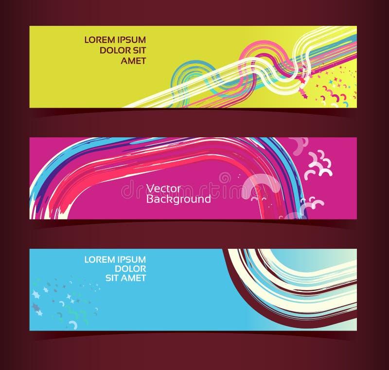 Sistema de las banderas horizontales, jefes. Plantilla Editable del diseño libre illustration