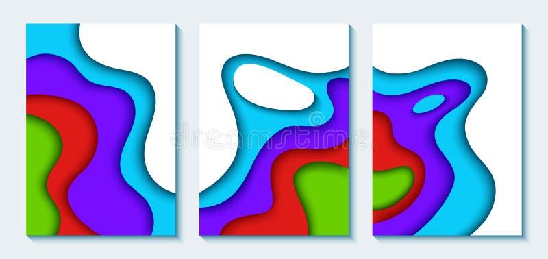 Sistema de las banderas verticales A4 con el fondo abstracto 3D con las ondas del corte del papel azul Cartel geométrico ondulado ilustración del vector