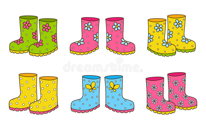 Sistema de las botas de goma del color stock de ilustración