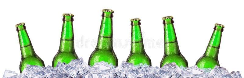 Sistema de las botellas de cerveza con descensos escarchados en hielo imagen de archivo
