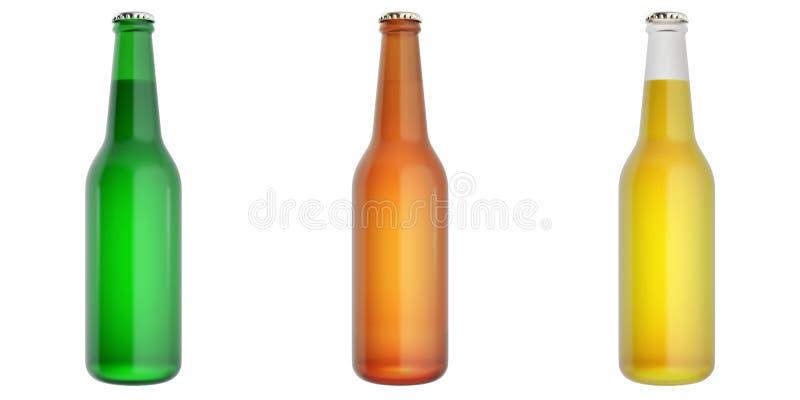 Sistema de las botellas de cerveza de cristal ilustración del vector