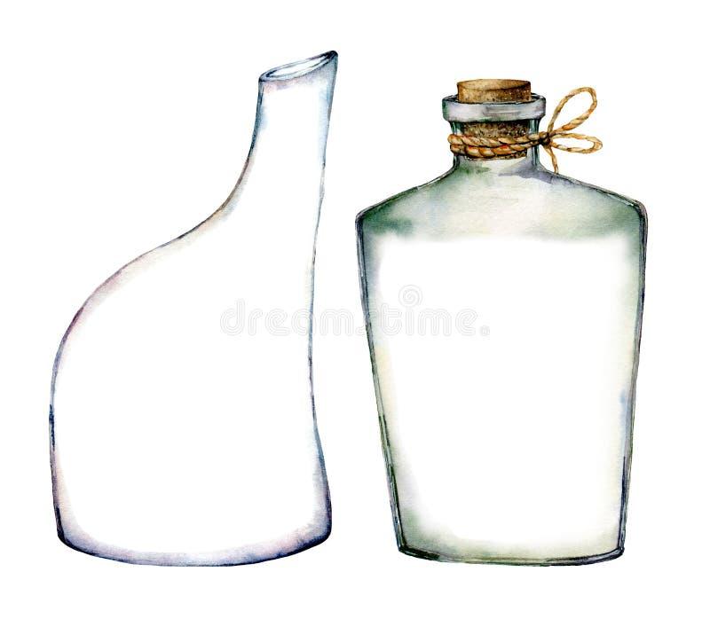Sistema de las botellas de la acuarela Ejemplo pintado a mano con las botellas de cristal aisladas en el fondo blanco Para el dis ilustración del vector