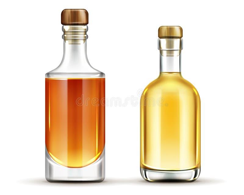 Sistema de las botellas de tequila, whisky, bebidas del borbón ilustración del vector