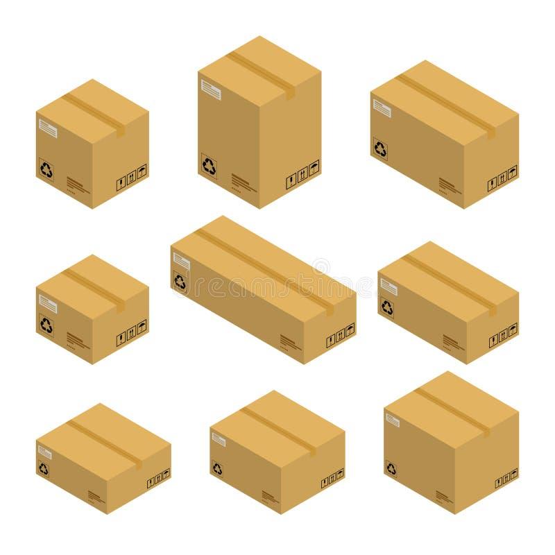 Sistema de las cajas de cartón isométricas, paquetes aislados en el fondo blanco ilustración del vector