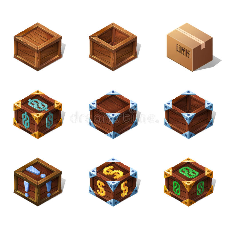Sistema de las cajas isométricas de madera de la historieta de los iconos para el juego Ilustración del vector stock de ilustración