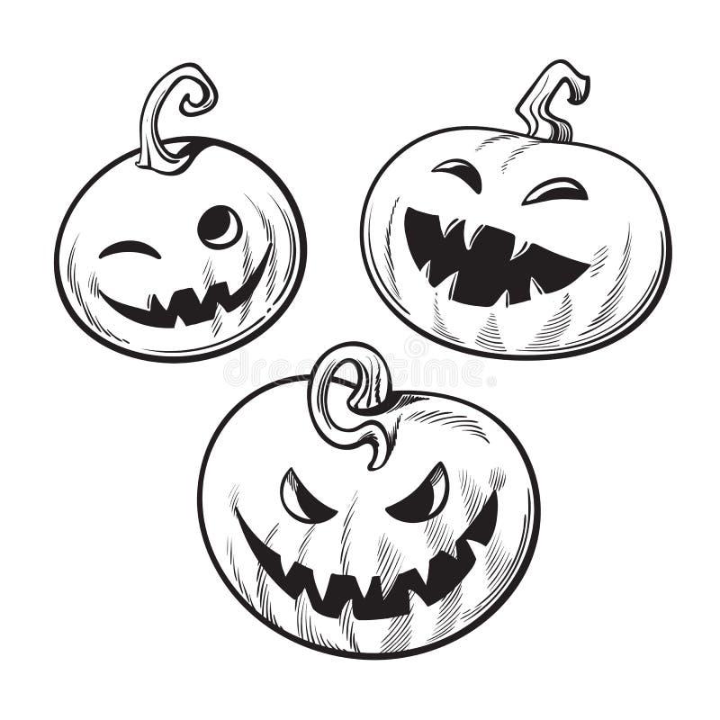 Sistema de las calabazas blancos y negros de Halloween de la historieta Vector drenado mano libre illustration