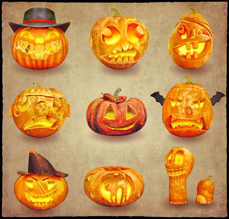 Sistema de las calabazas coloridas de Halloween ilustración del vector