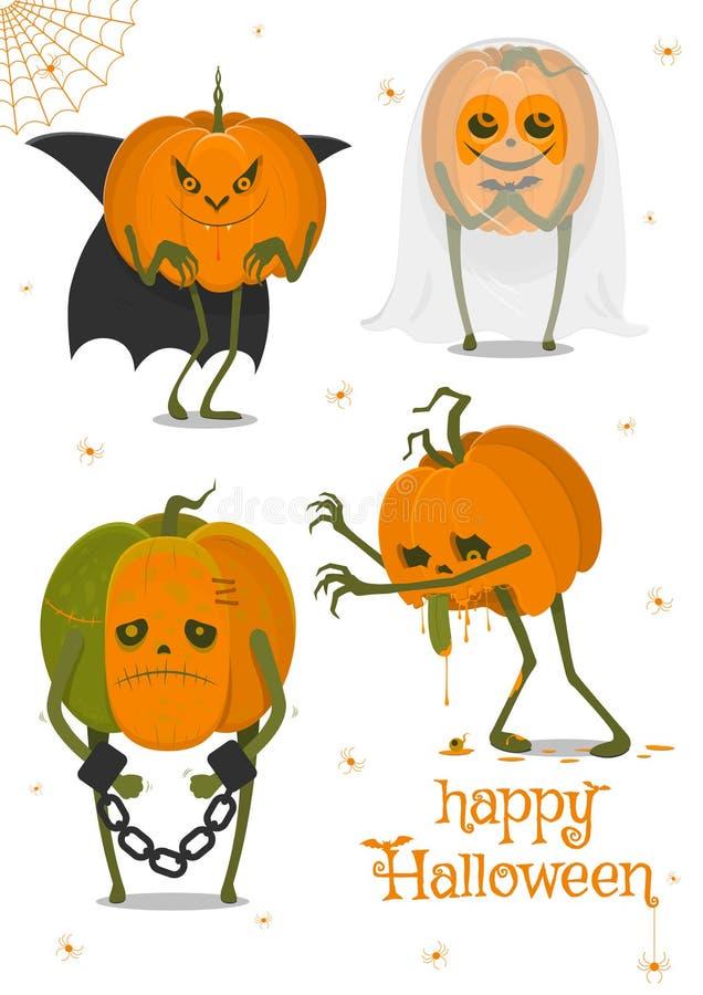Sistema de las calabazas de Halloween, caras divertidas Días de fiesta del otoño Ilustración del vector ilustración del vector