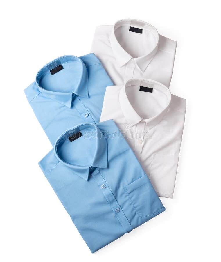 Sistema de las camisas masculinas blancas y azules fotos de archivo