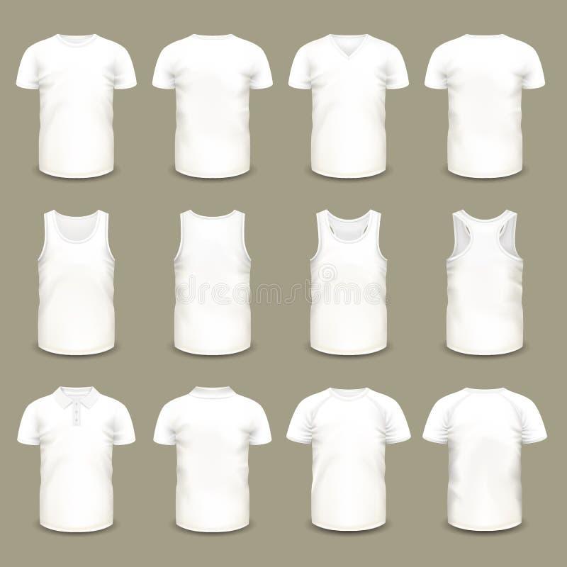 Sistema de las camisetas aisladas del deporte para los hombres y las mujeres ilustración del vector