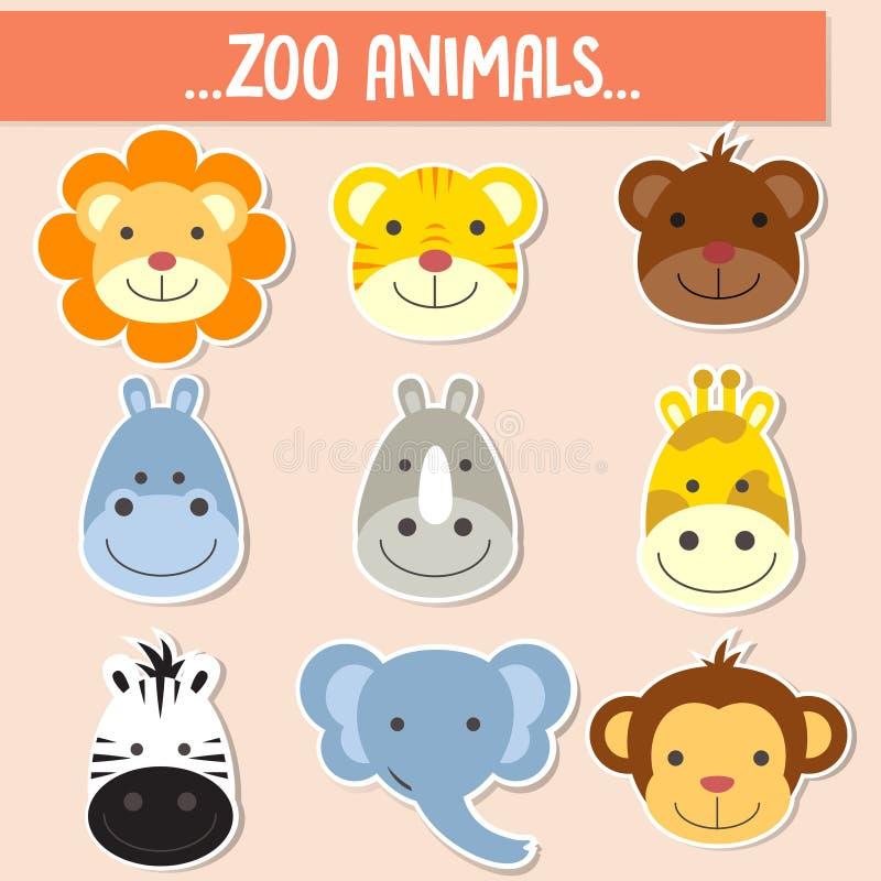 Sistema de las caras animales stock de ilustración