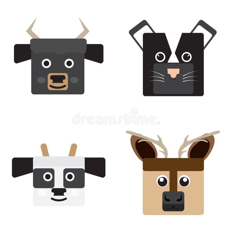 Sistema de las caras animales ilustración del vector