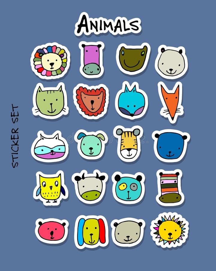Sistema de las caras animales, sistema de la etiqueta engomada para su diseño libre illustration