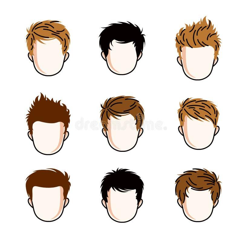 Sistema de las caras de los muchachos, cabezas humanas Diversos caracteres del vector como pelirrojo y morena stock de ilustración