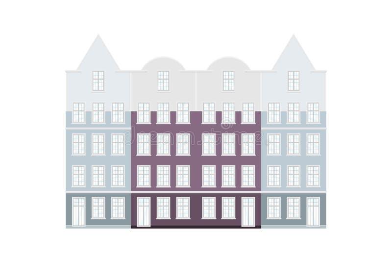Sistema de las casas coloreadas estilo de Amsterdam Fachadas de edificios viejos de la visión típica en Países Bajos Ejemplo plan libre illustration