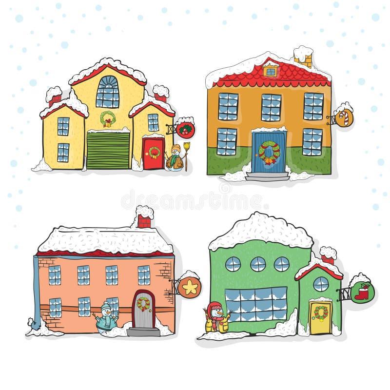Sistema de las casas del invierno para la Navidad libre illustration