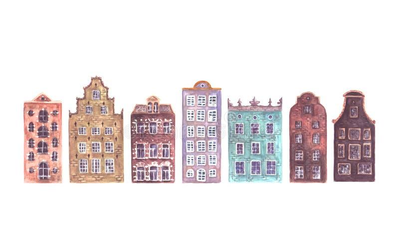 Sistema de las casas de Europa viejas de la acuarela aisladas ilustración del vector