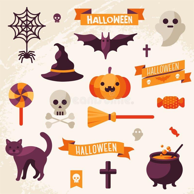 Sistema de las cintas y de los caracteres de Halloween libre illustration