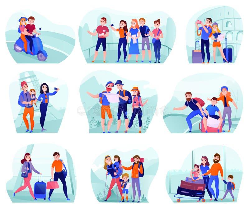 Sistema de las composiciones de los viajeros stock de ilustración