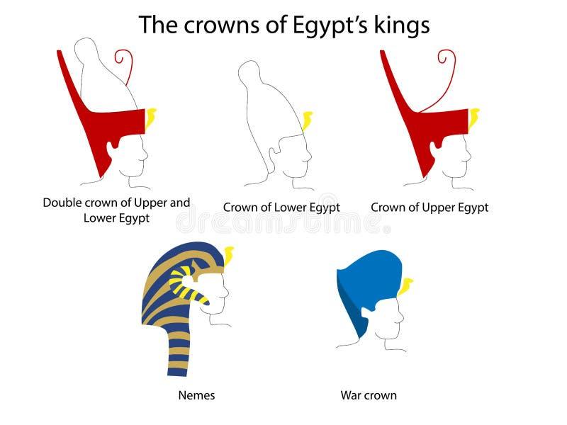 Sistema de las coronas de Egipto antiguo Arte de Egipto antiguo Cultura de Egipto antiguo ilustración del vector