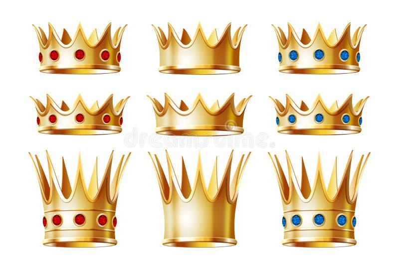 Sistema de las coronas de oro para el rey stock de ilustración