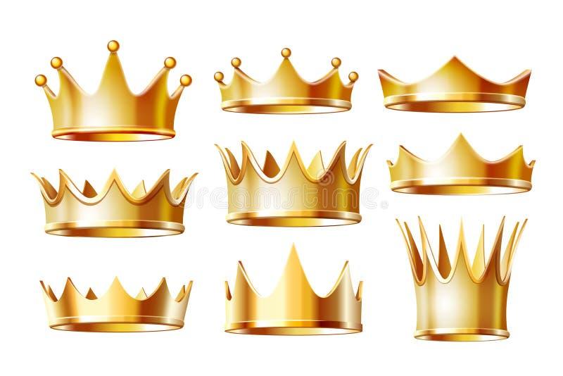 Sistema de las coronas de oro para el rey ilustración del vector