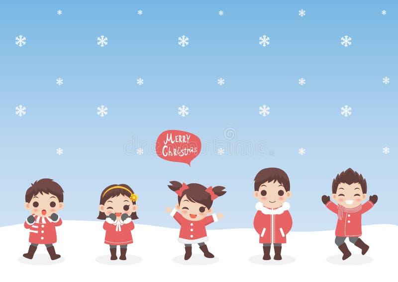 Sistema de las cualidades lindas de los niños de la historieta de los caracteres para las vacaciones de invierno y la Navidad, en libre illustration