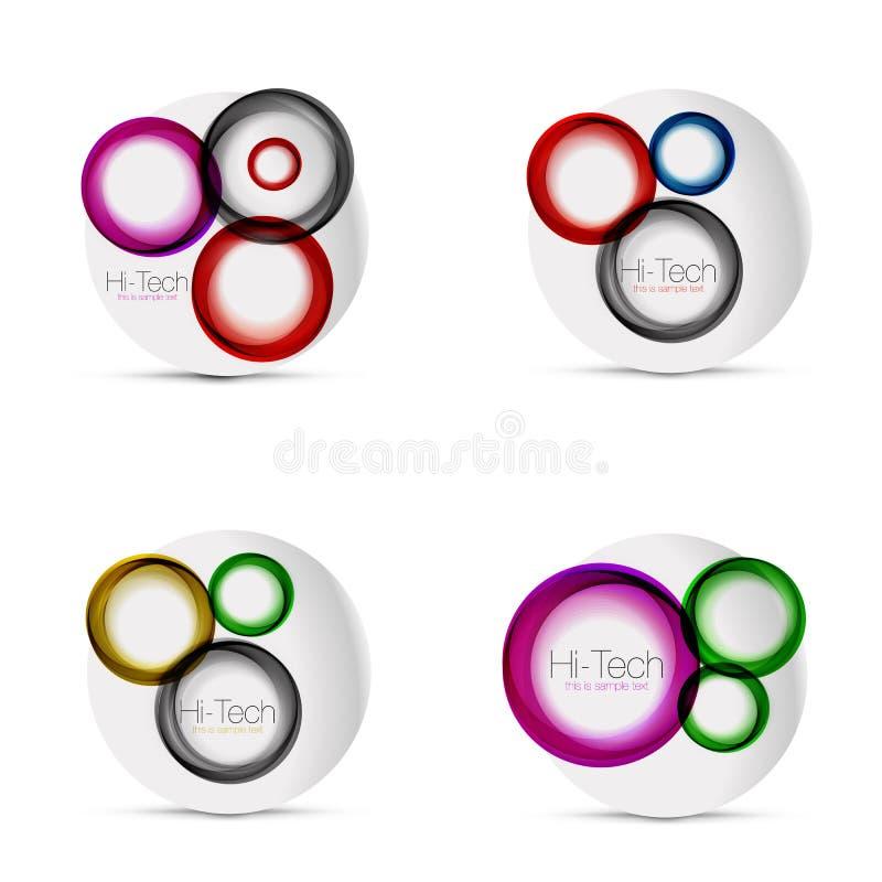 Sistema de las disposiciones del web del círculo - formas redondas del techno digital - banderas, botones o iconos del web con el stock de ilustración