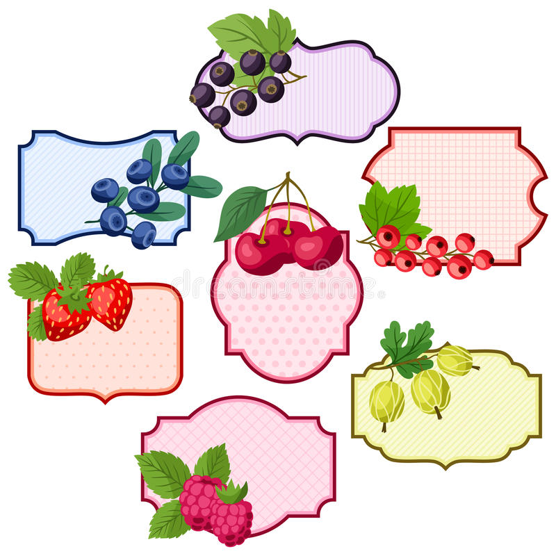 Sistema de las diversas insignias, etiquetas con las bayas stock de ilustración