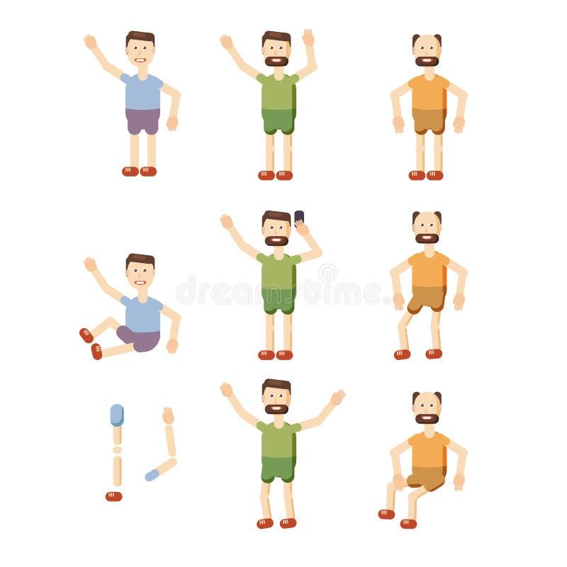 Sistema de las emociones faciales masculinas El carácter barbudo del emoji del hombre con diversas expresiones presenta Ejemplo d ilustración del vector
