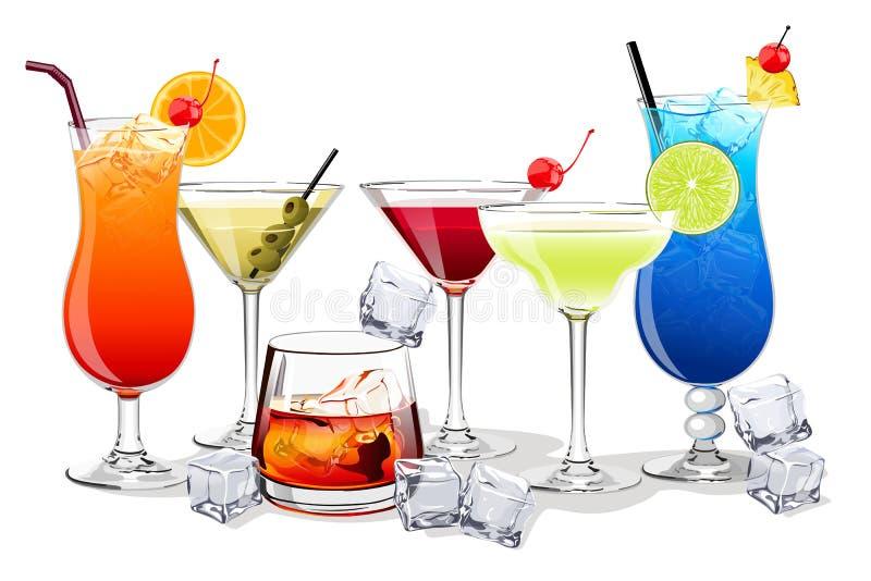 Sistema de las ensaladas de fruta del alcohol y y del ejemplo de las bebidas stock de ilustración