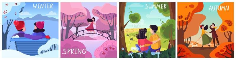 Sistema de las estaciones Invierno, primavera, verano y oto?o stock de ilustración