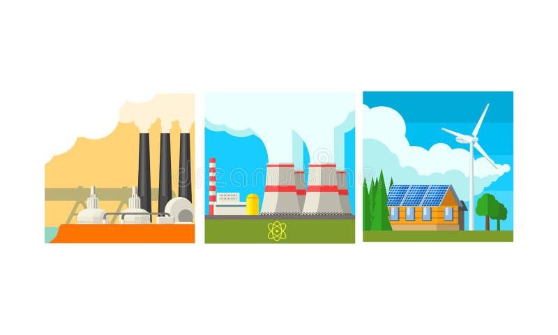 Sistema de las estaciones de la central eléctrica, limpio y ejemplo del vector de la producción de la generación de la energía de stock de ilustración