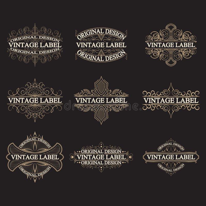 Sistema de las etiquetas antiguas, logotipos del vintage stock de ilustración