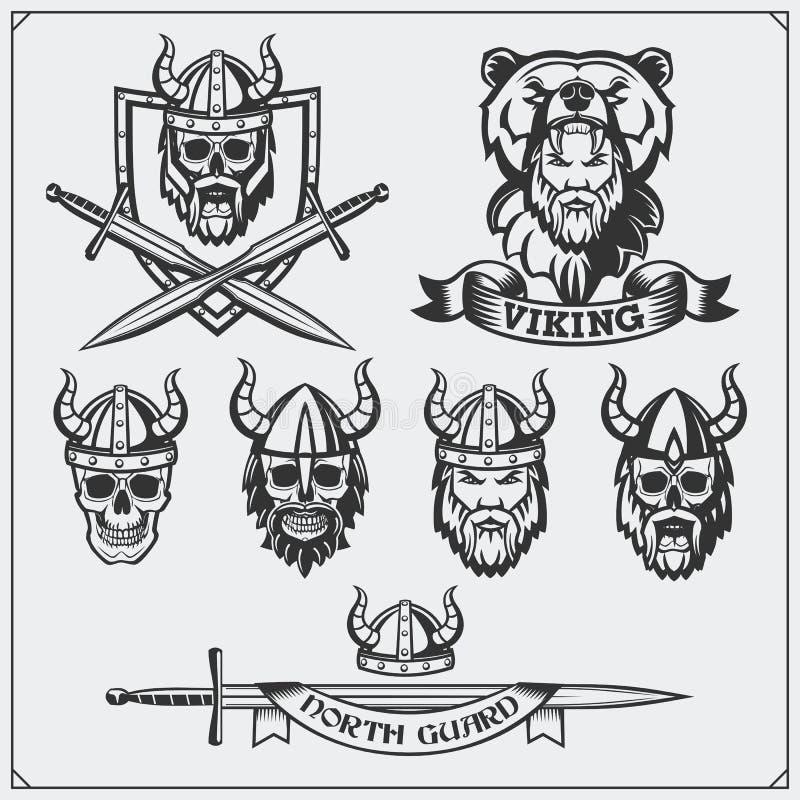 Sistema de las etiquetas, de las insignias y de los emblemas de vikingo Cráneo, casco de cuernos, guerrero, escudo, espada Estilo stock de ilustración