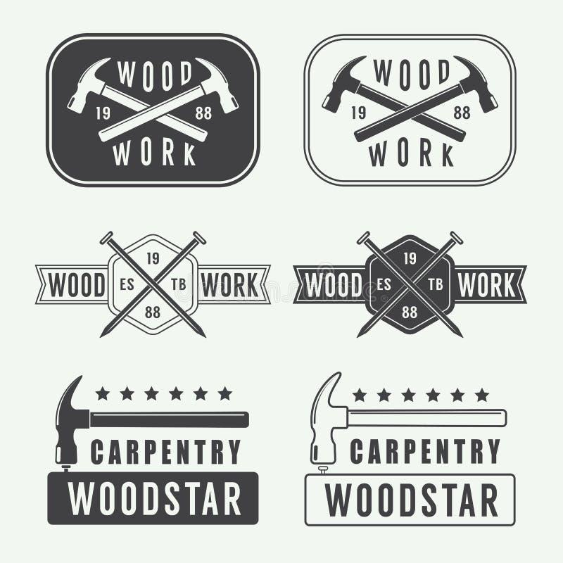 Sistema de las etiquetas, de los emblemas y del logotipo de la carpintería del vintage stock de ilustración