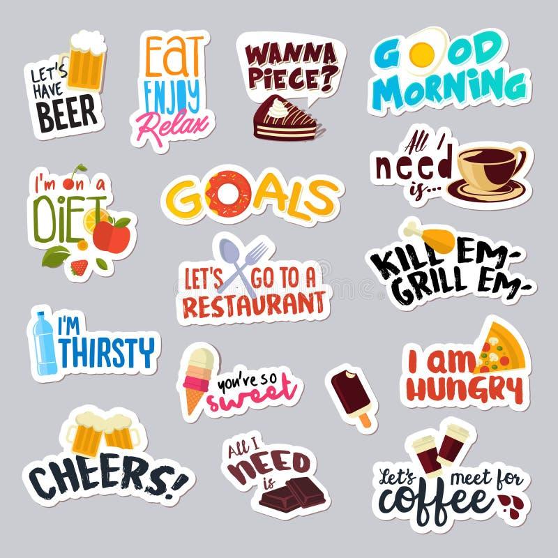 Sistema de las etiquetas engomadas divertidas de la comida y de la bebida para la red social ilustración del vector