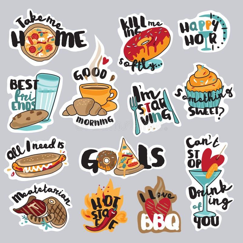 Sistema de las etiquetas engomadas divertidas de la comida y de la bebida para la red social stock de ilustración