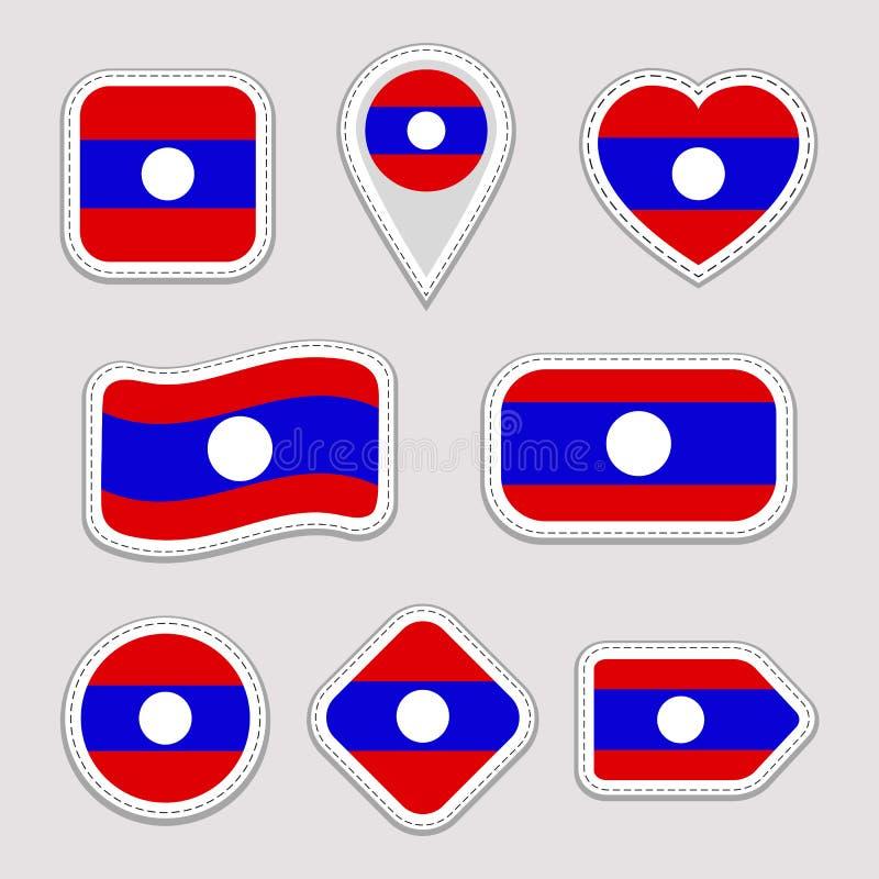 Sistema de las etiquetas engomadas de la bandera de Laos Insignias laosianas de los símbolos nacionales Iconos geométricos aislad stock de ilustración