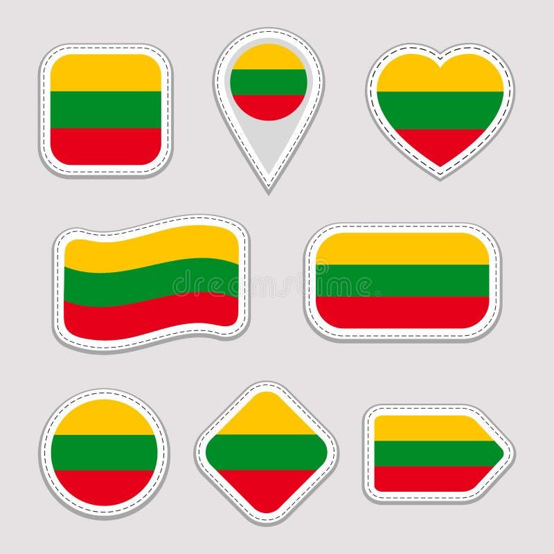 Sistema de las etiquetas engomadas de la bandera de Lituania Insignias lituanas de los símbolos nacionales Iconos geométricos ais stock de ilustración