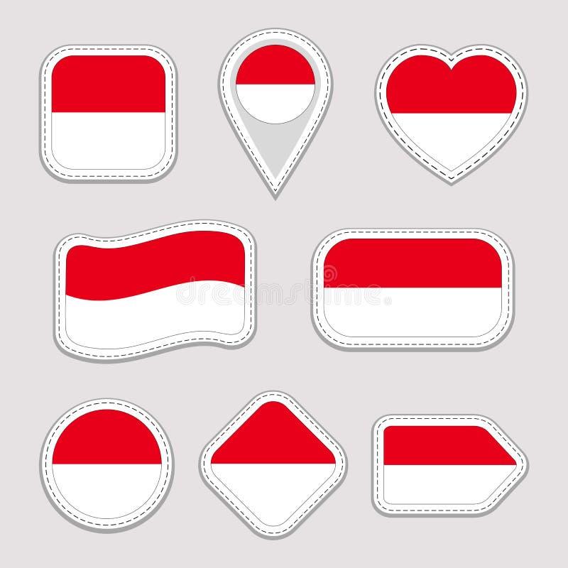 Sistema de las etiquetas engomadas de la bandera de Mónaco Insignias Monacan de los símbolos nacionales Iconos geométricos aislad stock de ilustración