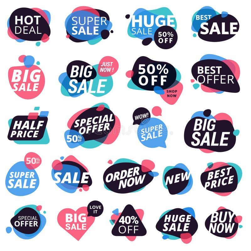 Sistema de las etiquetas engomadas y de las insignias llamativas coloridas, promoción del producto, oferta especial, haciendo com stock de ilustración