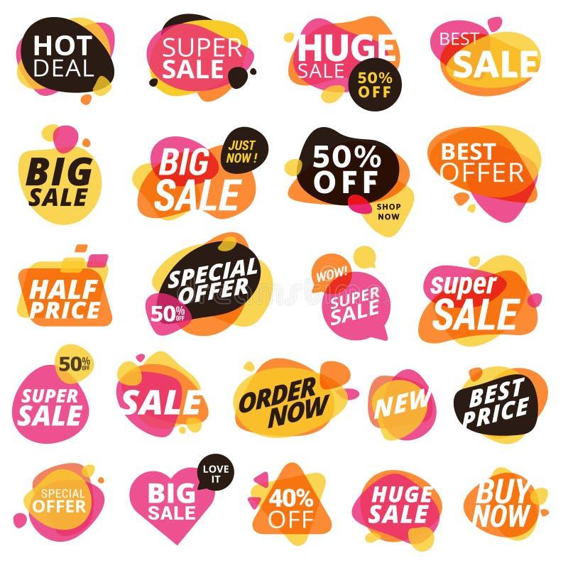 Sistema de las etiquetas engomadas y de las insignias, promoción del producto, oferta especial, haciendo compras ilustración del vector
