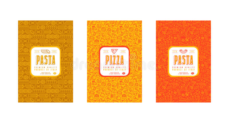 Sistema de las etiquetas inconsútiles del modelo y de la plantilla para la pizza y las pastas ilustración del vector