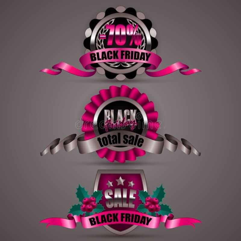 Sistema de las etiquetas negras de viernes stock de ilustración