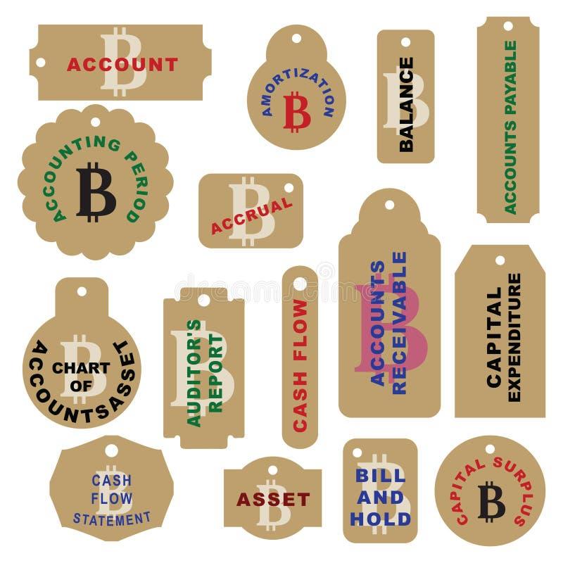 Sistema de las etiquetas para el cryptocurrency - Bitcoin ilustración del vector