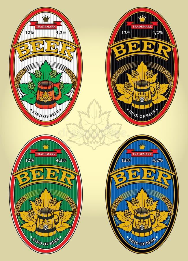Sistema de las etiquetas para la cerveza ilustración del vector