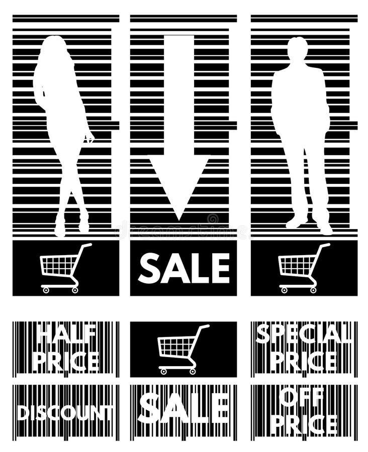 Sistema de las etiquetas para las ventas comunes en el fondo de la barra c libre illustration